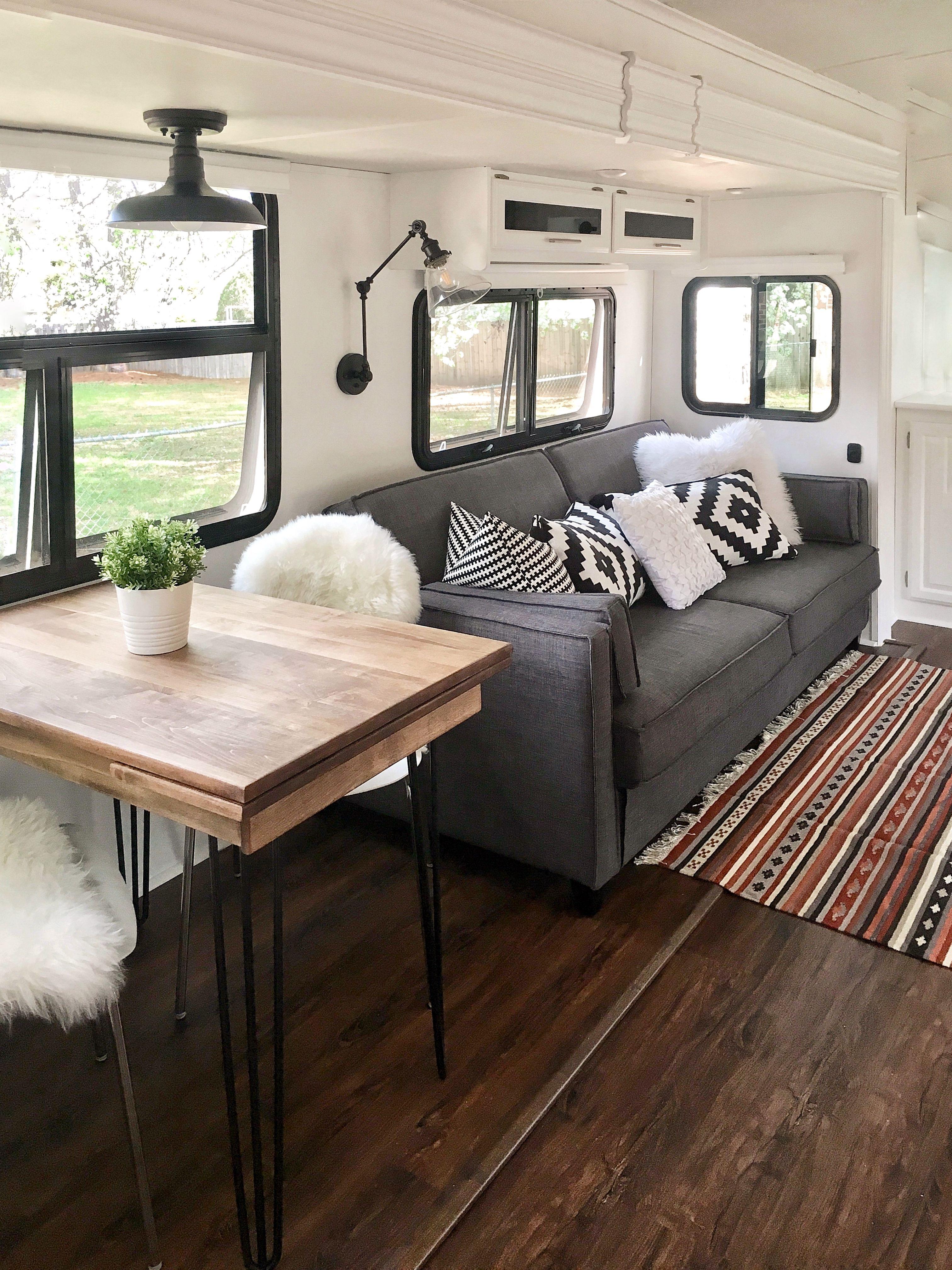 Rv Kitchen Remodel Mrs Elliluu On Instagram Remodeled Campers Camper Trailer Remodel Rv Interior
