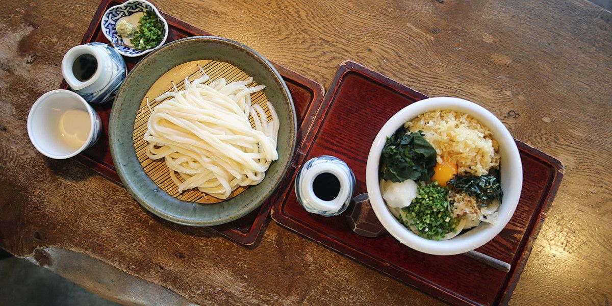 An udon shop serving udon made from Hokkaido wheat, nestled in the fields a short drive from Sapporo.