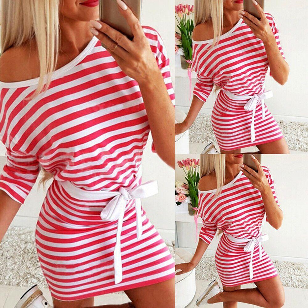 Mini Kleid Kleider S-2XL Langarm Baumwollmischungen Rot ...