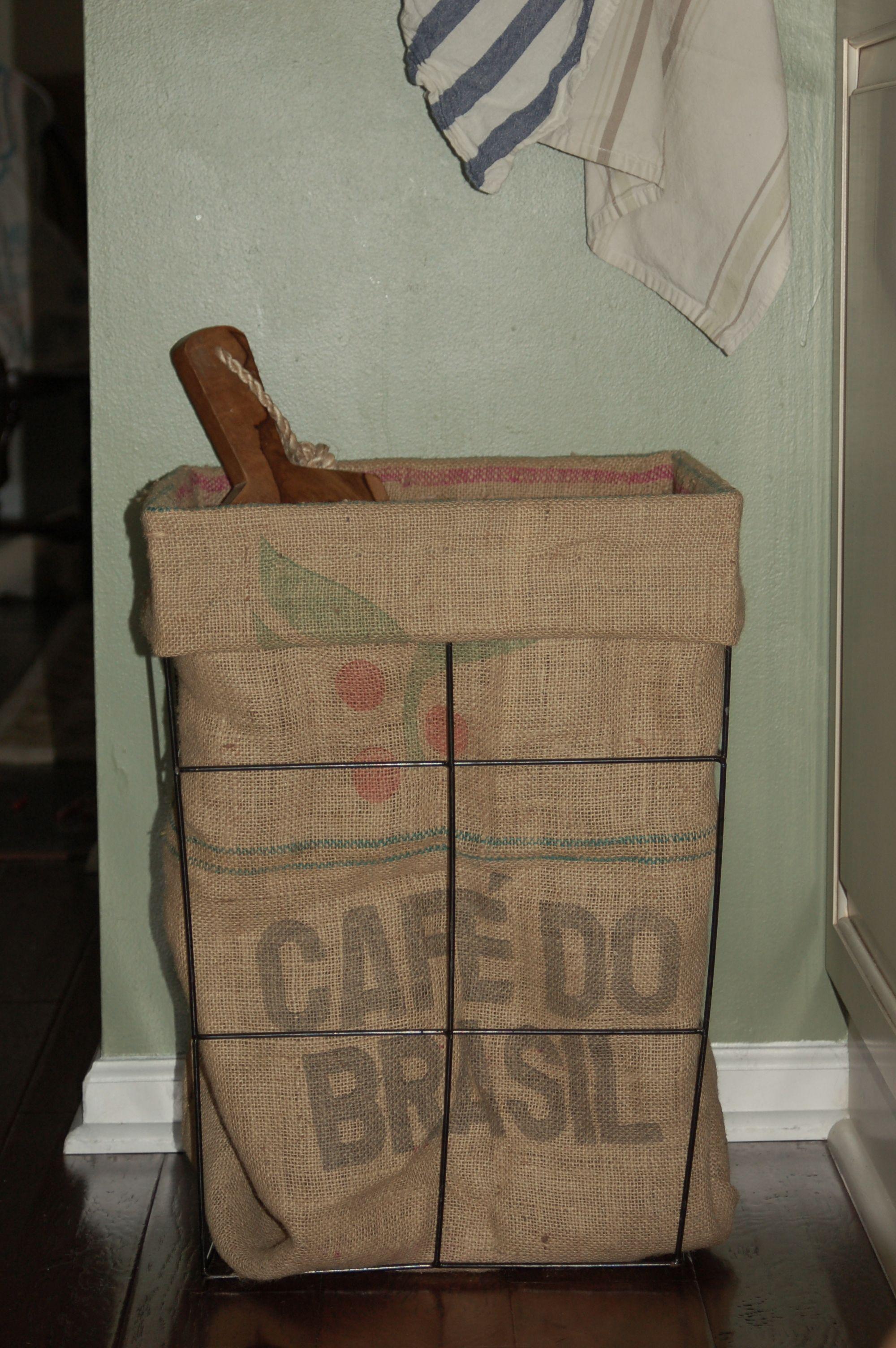 Feed sack wire basket tall laundry basket coffee sacks for Burlap bag craft ideas