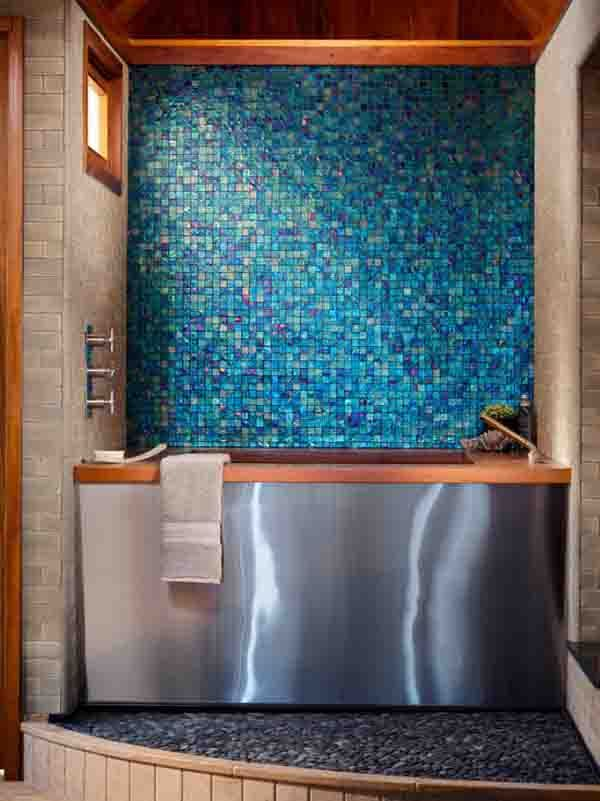 Blue Green Bathroom Color Tile Backsplash Bath Design Ideas Mosaic