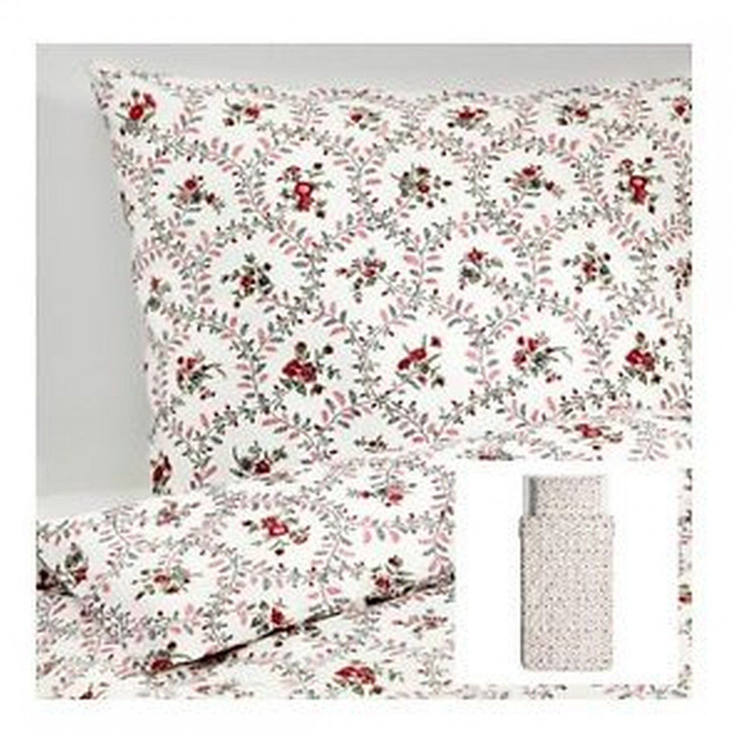 Ikea Hallrot Twin Duvet Cover And Pillowcase Set Floral Red White Colonial Hallrot Ikea Duvet Cover Ikea Duvet Duvet Covers Twin