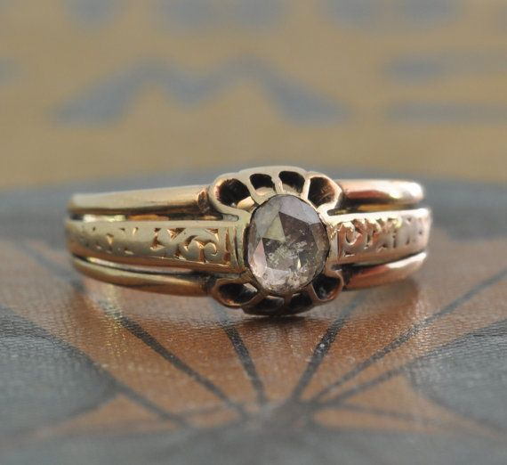 Engagement Ring 1800s Antique Engagement Ring Rose Cut Diamond
