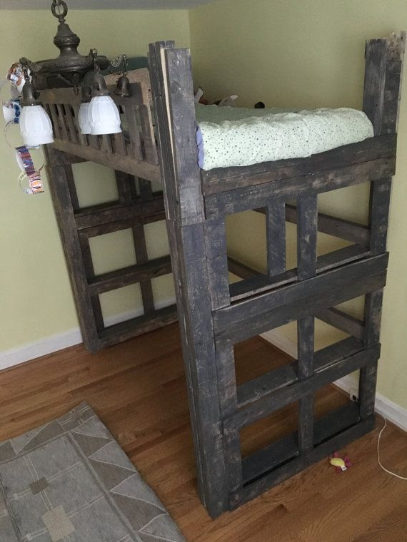 Custom Queen Size Loft Bed with Headboard & Footboard with Rails ...