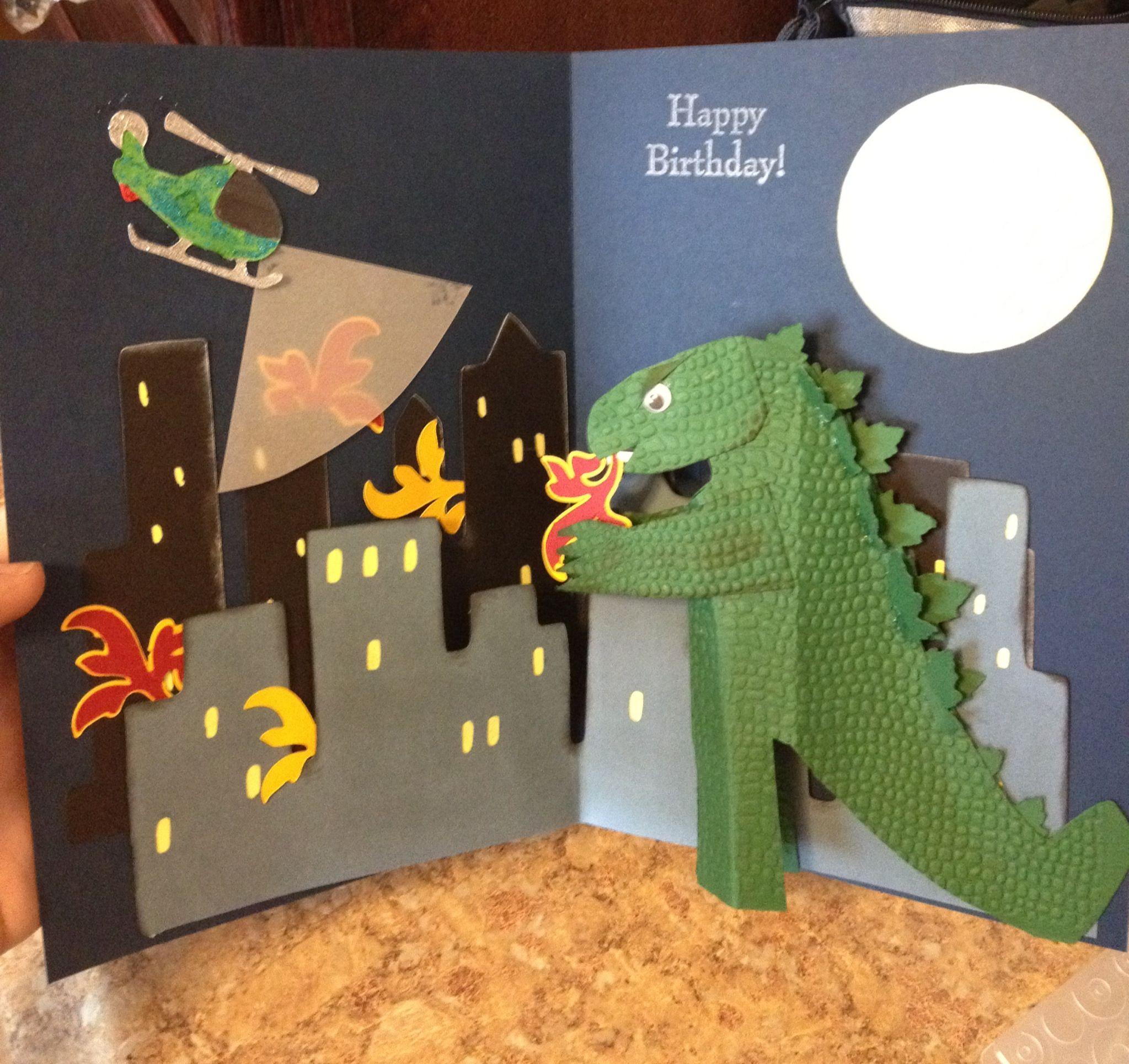 Godzilla Pop Up Birthday Card By Kimberly Heath Godzilla Birthday Godzilla Birthday Party Birthday Cards