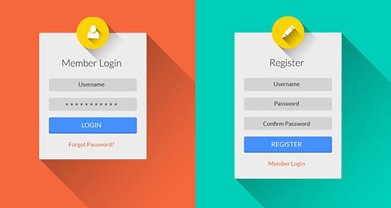 Free Download  Great Login  Registration Form Psd  The