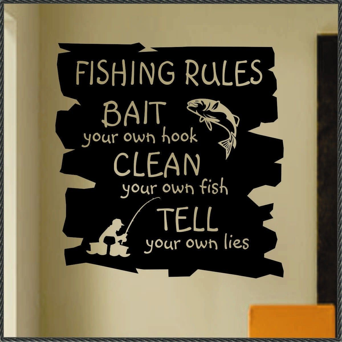 Vinyl wall lettering quotes words decals fishing rules for Fishing vinyl decals