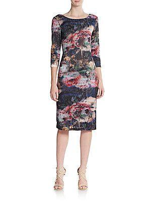 Beige by eci Floral Sheath Dress - Size M