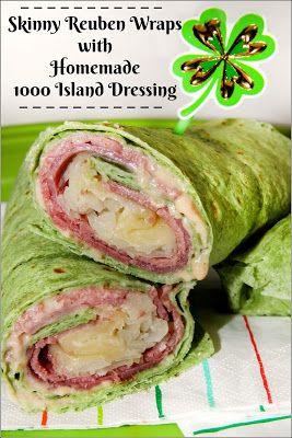 Skinny Reuben Wraps with Homemade 1000 Island Dressing #SundaySupper