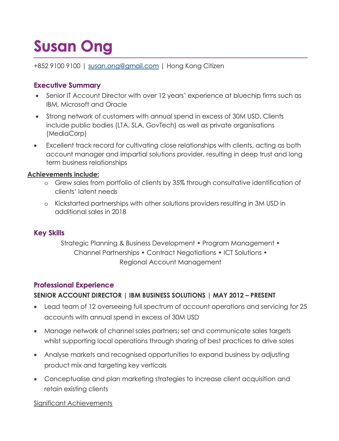 Simple Violet CV Template Resume Template Hong Kong in