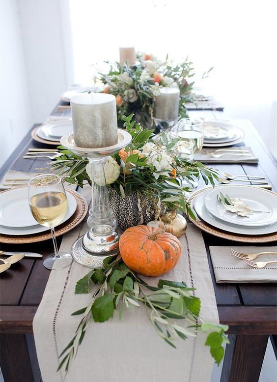 Greenery And Pumpkins For Thanksgiving A Classic Tablescape Clean Modern Thanksgiving Table Decorations Fall Table Decor Thanksgiving Centerpieces