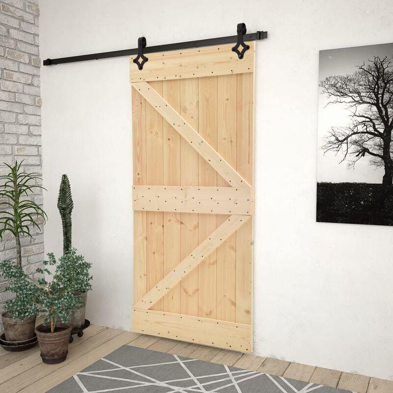 Sliding door with hardware kit 80x210cm Pine mas …