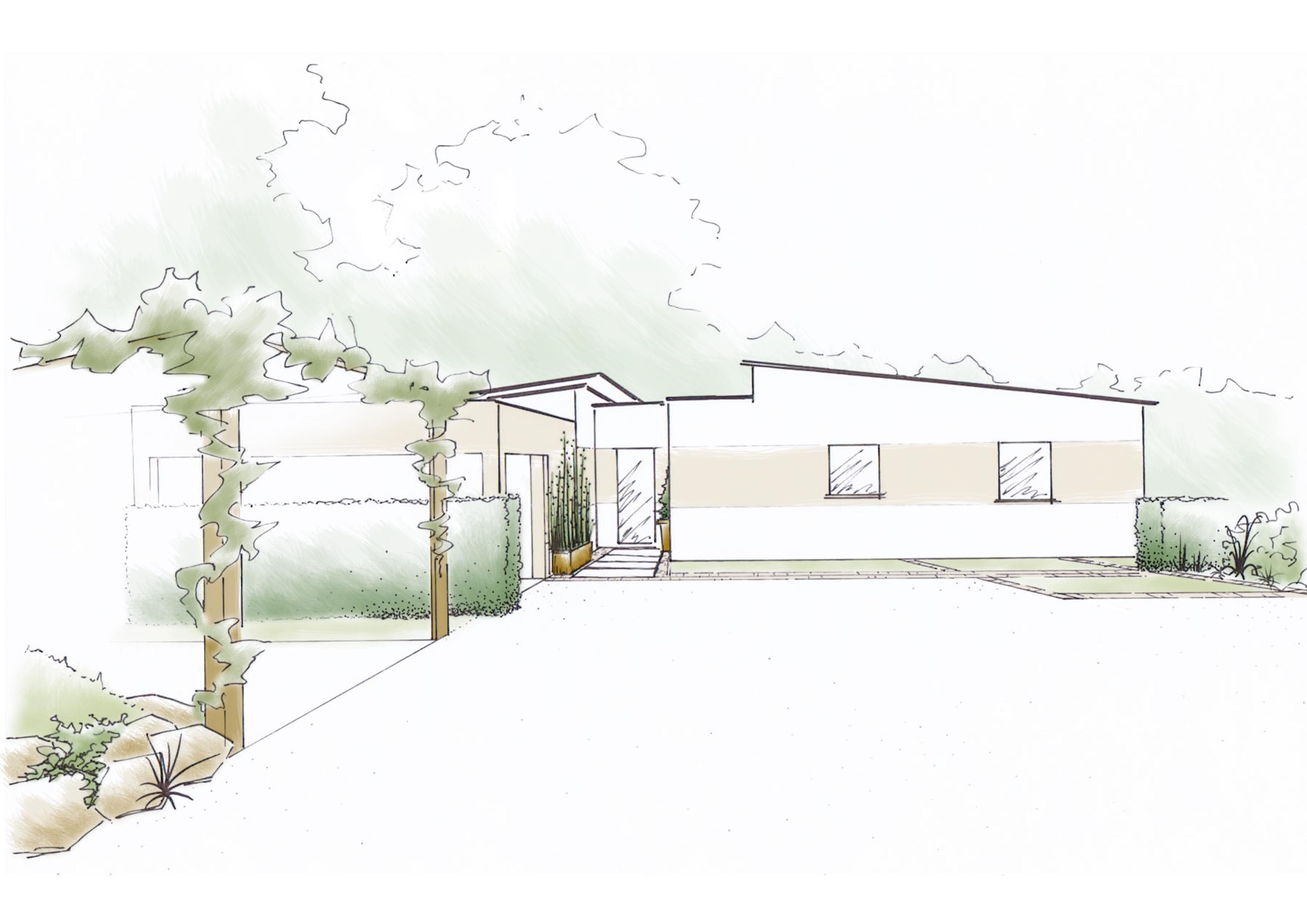 croquis d 39 ambiance d 39 une entr e contemporaine garden plan pinterest. Black Bedroom Furniture Sets. Home Design Ideas