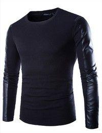 Wish   Men's T-shirt men's fashion round neck long-sleeved T-shirt  casual T shirt stitching PU match