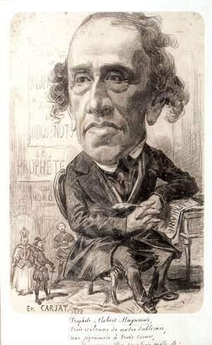 Giacomo Meyerbeer [born Jacob Beer] (1791-1864), caricature (1858), by Étienne Carjat (1828-1906).