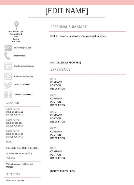 CV / Resume Template in Grey and Pink £3 Digital download