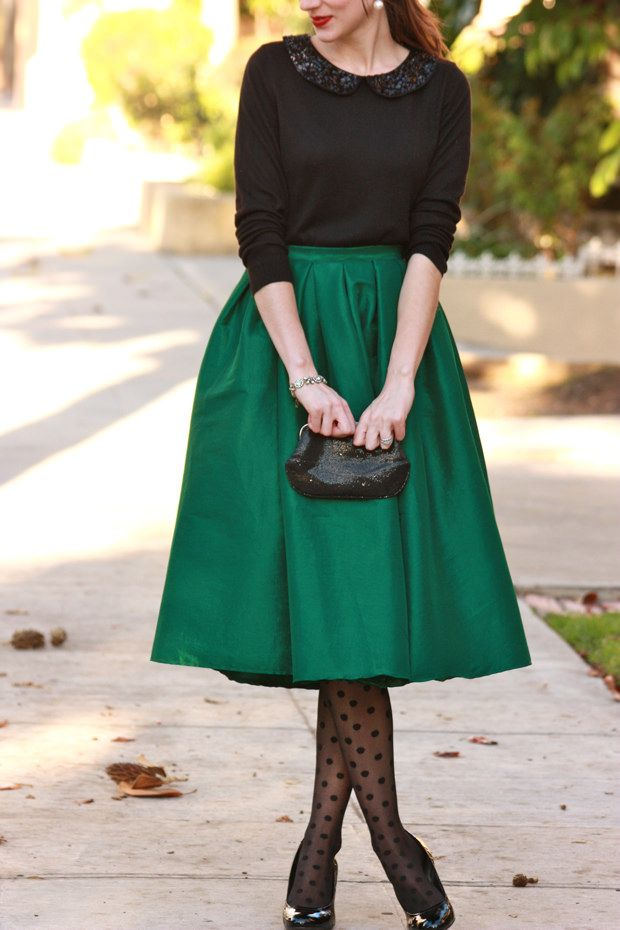 Holiday Outfit: Green midi skirt, black sequin sweater, polka dot tights