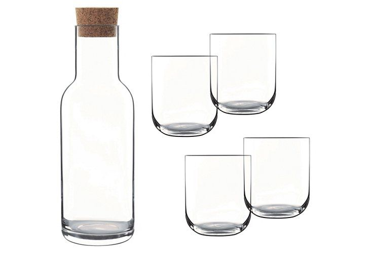 This Classic Barware Set Includes Four Versatile Tumblers And A Cork Topped  Carafe, All Crafted Of Surprisingly Durable Glass.