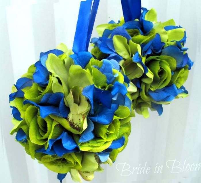 Royal Blue And Lime Green Blue Wedding Flowers Blue Green