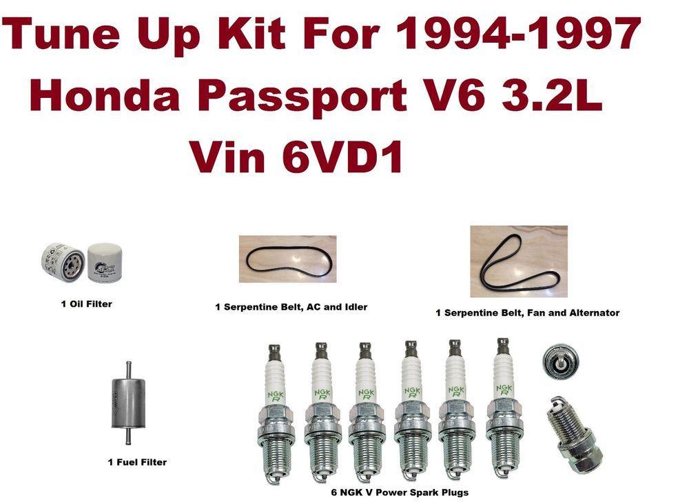tune up kit for 94-97 honda passport v6 serpentine belt, oil filter, spark  plug