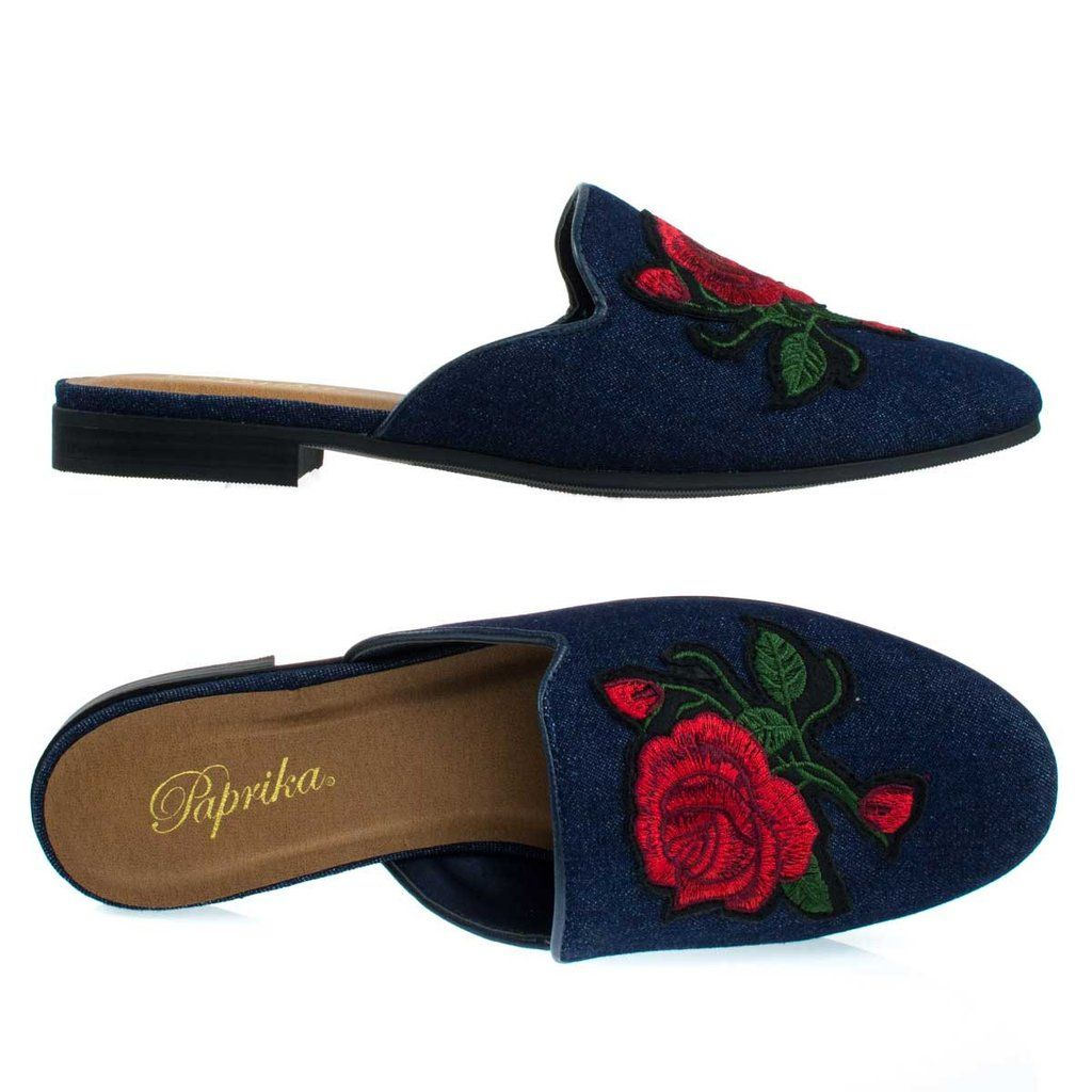 b0e0dbb3bfe TemperDBlueDen  loafer  mule  roundtoe  openback  rose  embroidered   embroidery  stitch  women  shoes  denim  blue