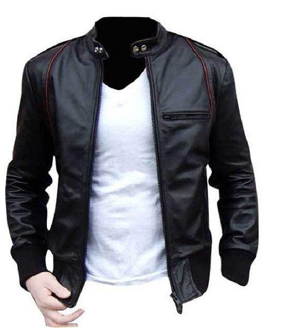 Men black Leather jacket, real leather biker jacket | Silk ...