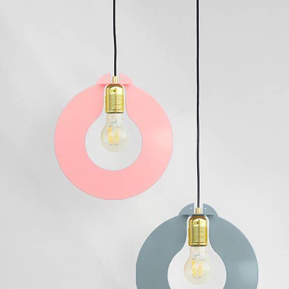 Pink Metal Ceiling Lamp Geometric Pendant Light Minimalist Etsy