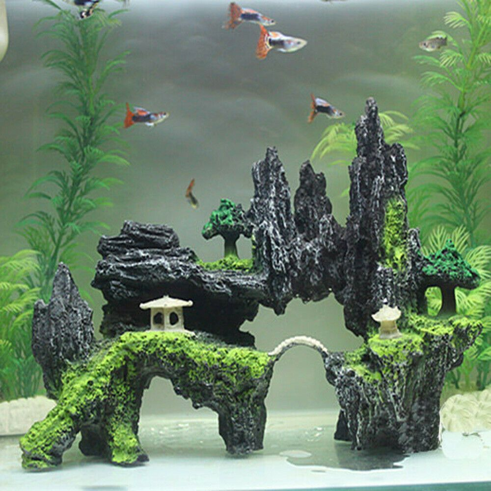 Mountain View Aquarium Rockery Hiding Cave Tree Fish Tank Ornament Decoration