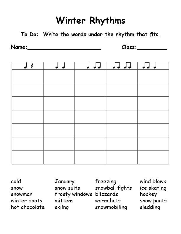 WinterRhythms Syllables This Is Great Could Be Used For Any
