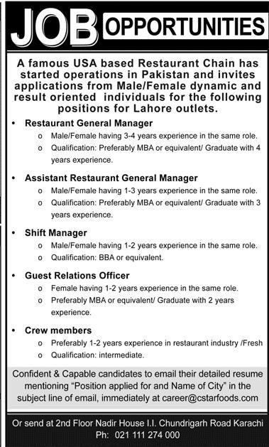 Jobs In Usa Based Restaurant  Latest Jobs In Pakistan