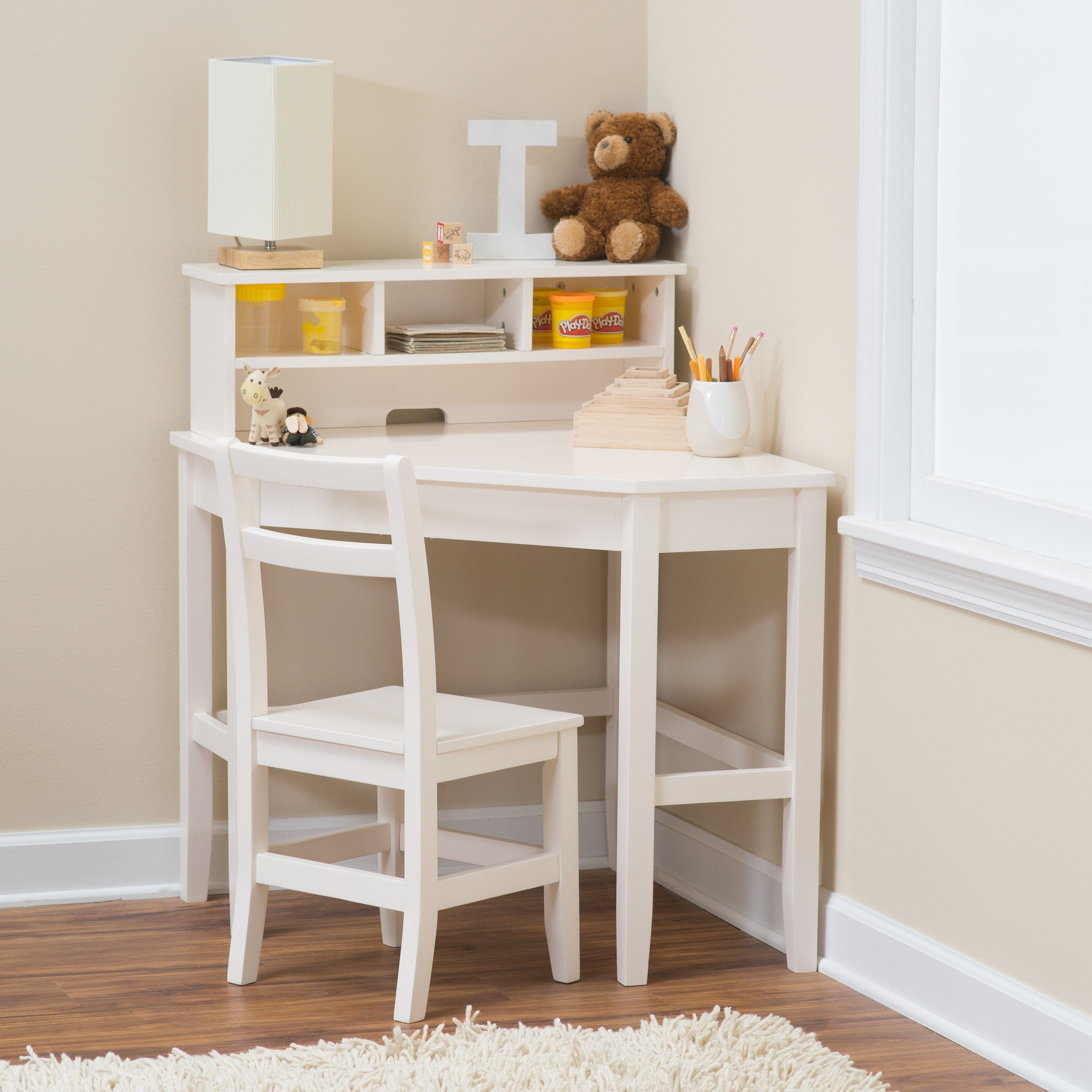 Classic playtime juvenile corner desk and reversible hutch - Corner desk for small space ...