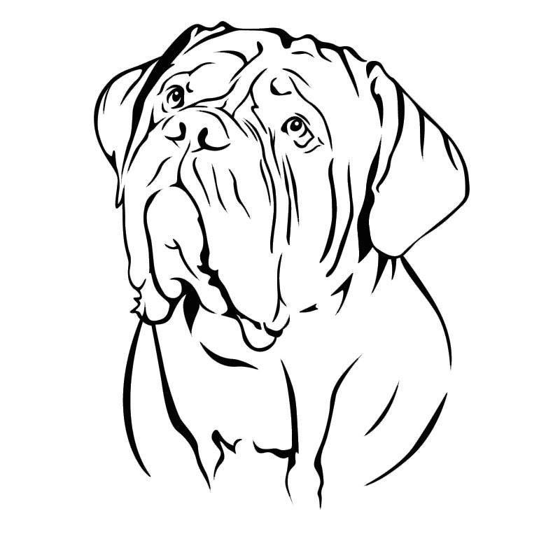 Sticker Myla 15 Coloris 3 Dimensions Doglovedesign Com Dog Line Art Bordeaux Dog Dog Drawing