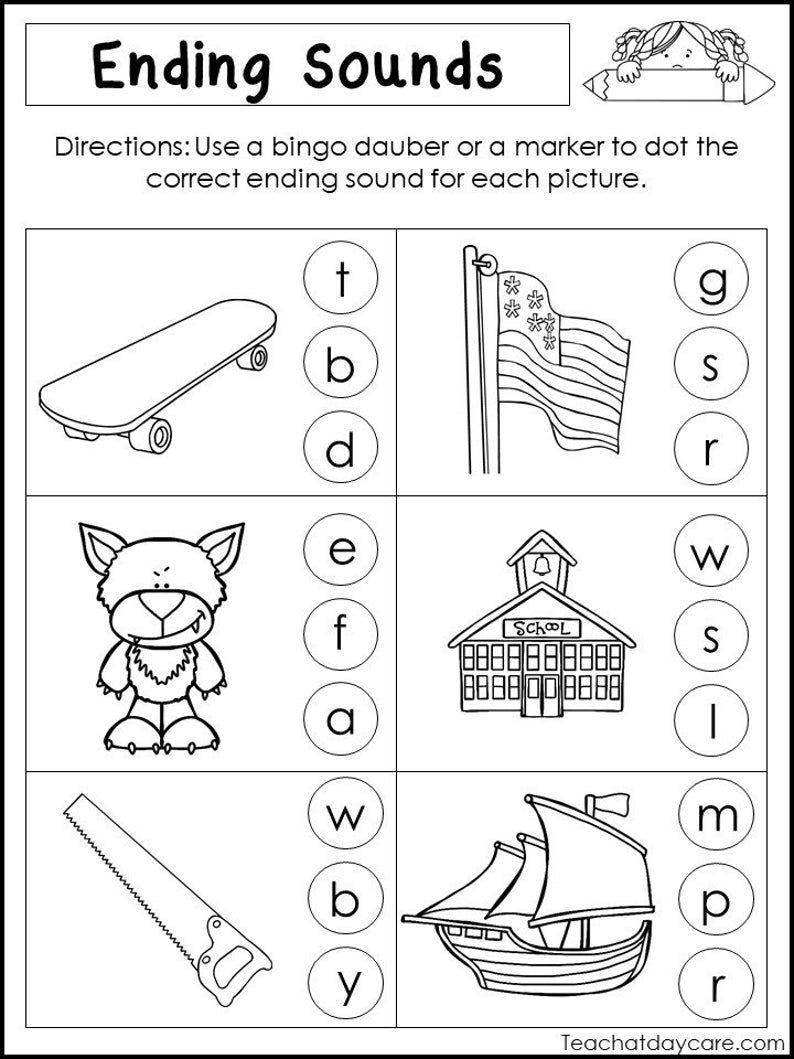 10 Printable Ending Sounds Worksheets. Preschool1st Grade