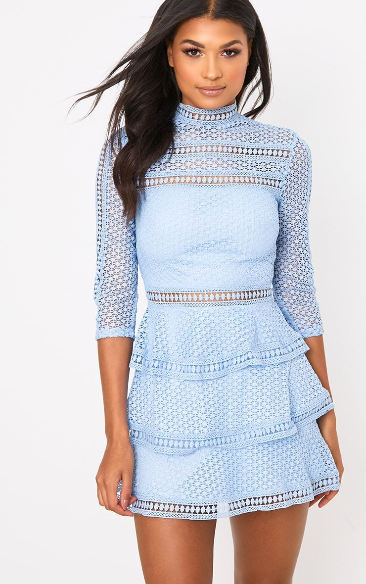 Caya Dusty Blue Lace Panel Tiered Mini Dress In 2019