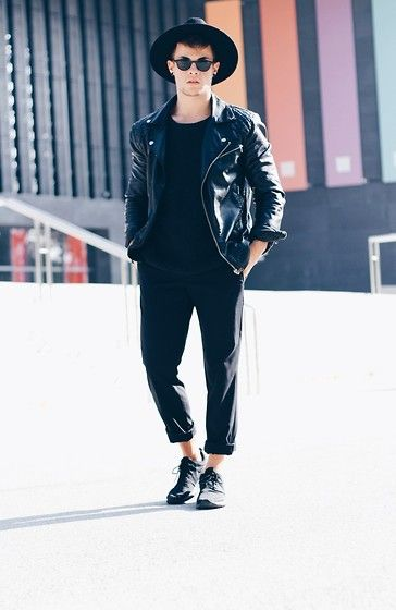 Nike Shoes, Montego Pants, Bershka Sweater, Zara Leather Jacket, Giant Vintage Glasses, H&M Hat