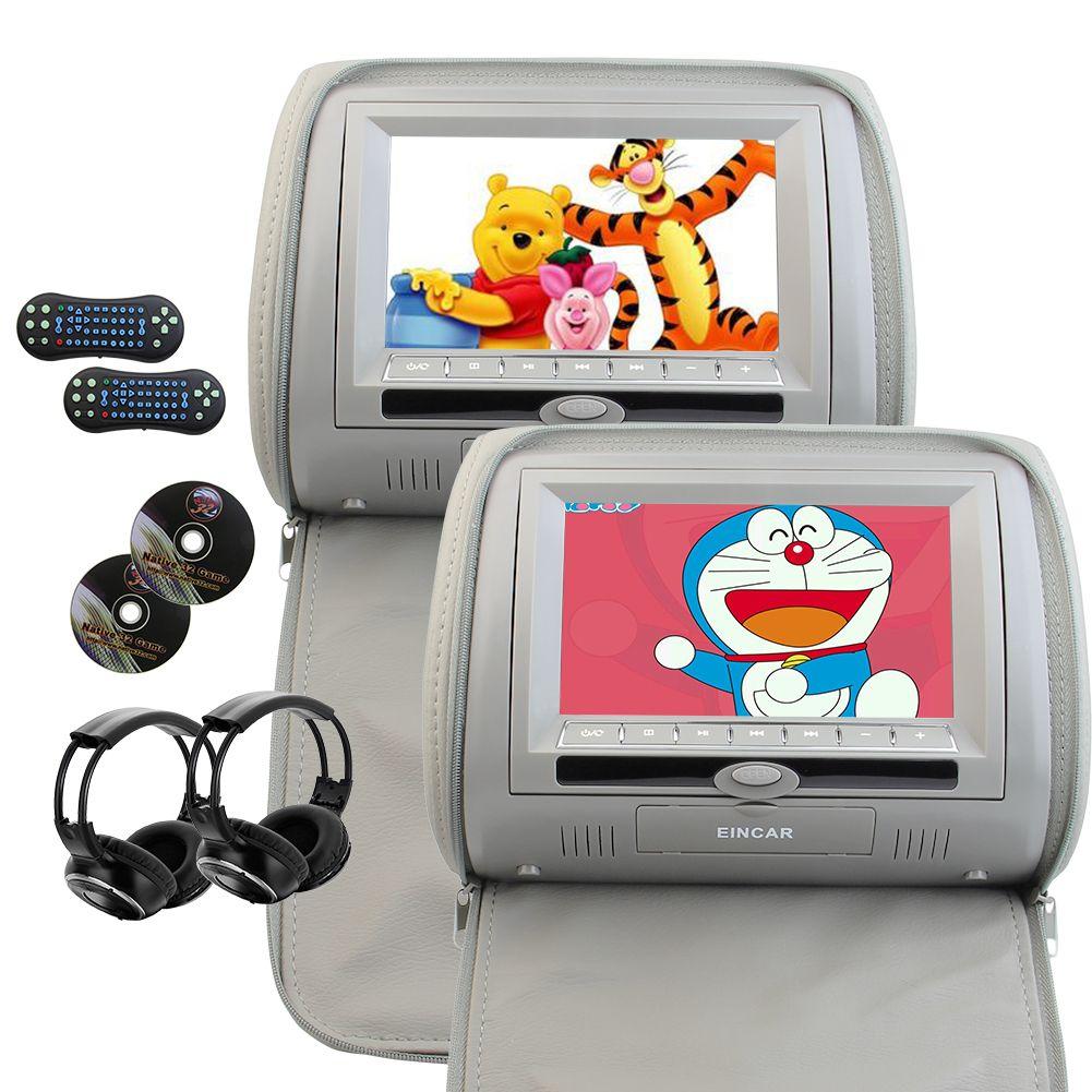 Eincar 7 Inch 2PCS Car Headrest DVD Player Wide View LCD Digital Screen Artificial Leather