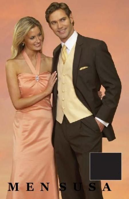 SKU#PDX368 Light Weight Two Button CoCo Brown Notch Wedding Suits ...