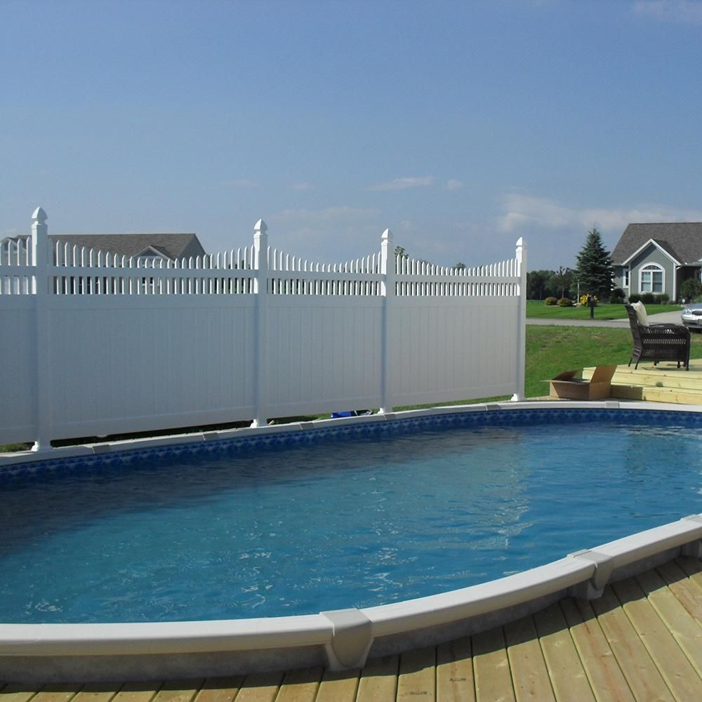 Weatherables Halifax 6 Ft H X 8 Ft W White Vinyl Privacy Fence Panel Kit Pwpr Ots 6x8 The Home Depot Backyard Pool Landscaping Above Ground Swimming Pools Pool Landscape Design