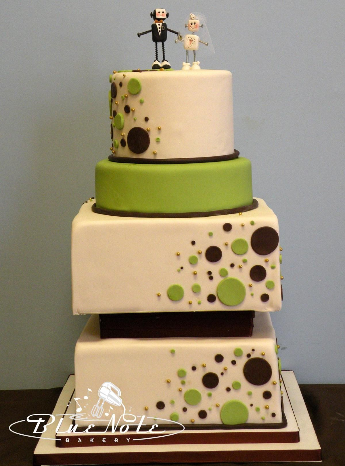robots and polka dots - green & brown wedding cake | Blue Note ...