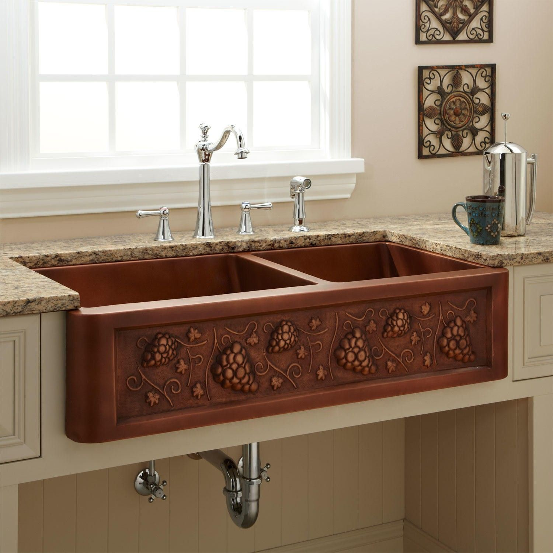 42 Tuscan 60 40 Offset Double Bowl Copper Farmhouse Sink Copper