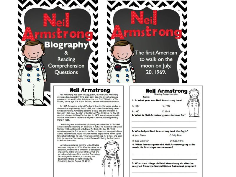 Neil Armstrong Biography & Reading Comprehension Worksheet FREEBIE ...