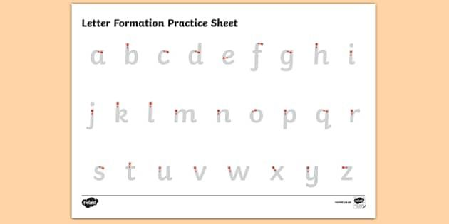letter formation alphabet handwriting practice sheet lowercase pre school worksheets. Black Bedroom Furniture Sets. Home Design Ideas