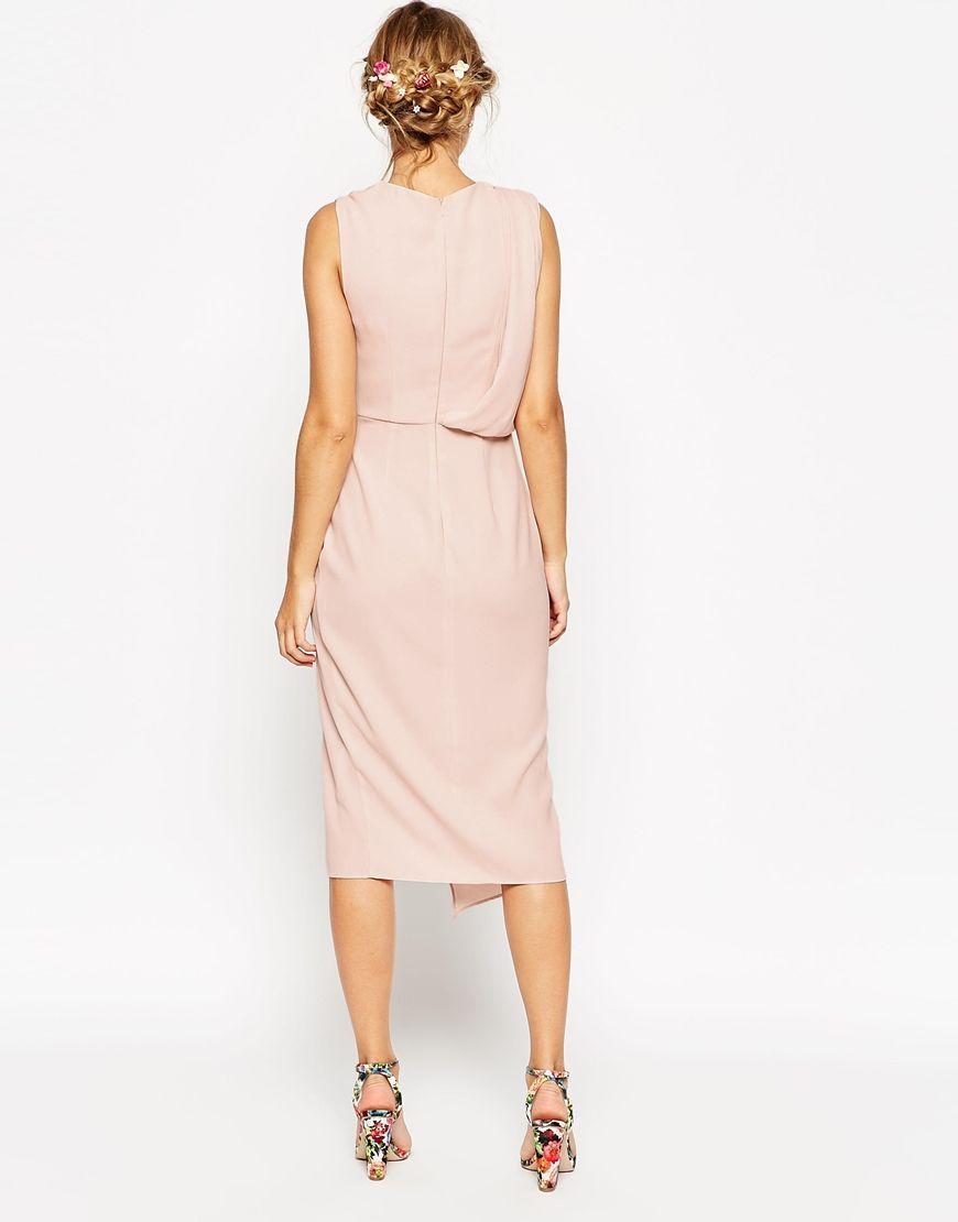 Image 2 Of Asos Tall Wedding Wrap Drape Midi Dress