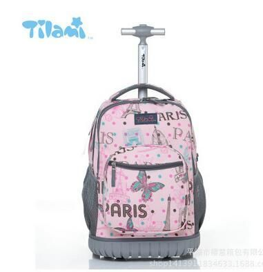 TILAMI Children Trolley School Bags Kids Backpack 18 Inch Travel Luggage With Wheels Rolling