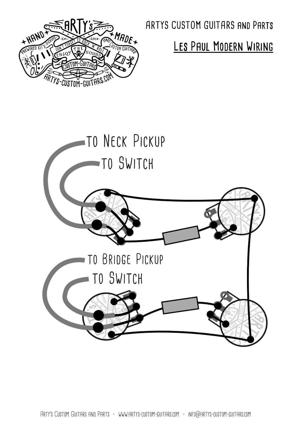 arty s custom guitars wiring diagram plan les paul assembly harness [ 990 x 1400 Pixel ]