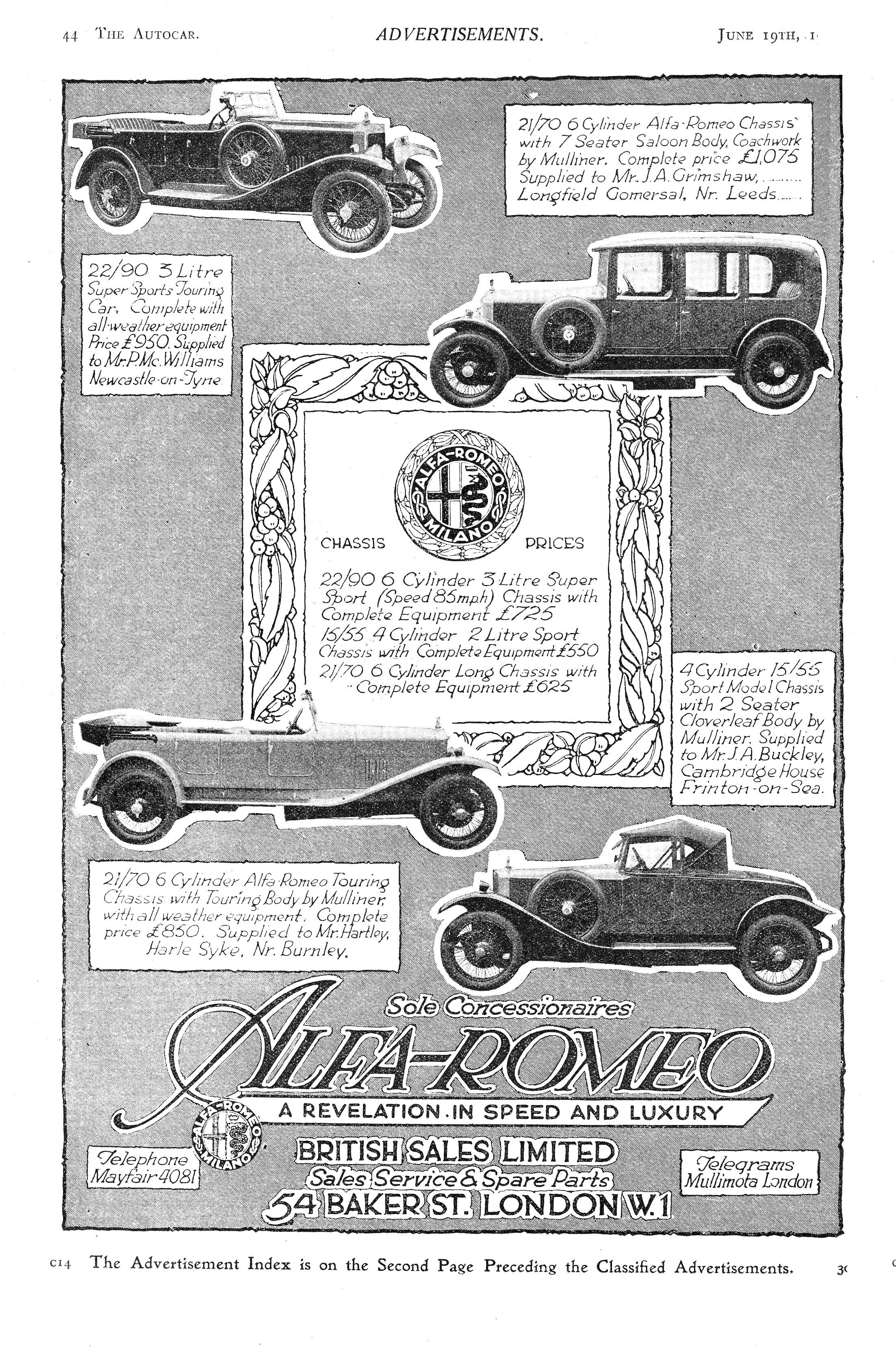 Alfa Romeo Car Autocar Advert 1930s