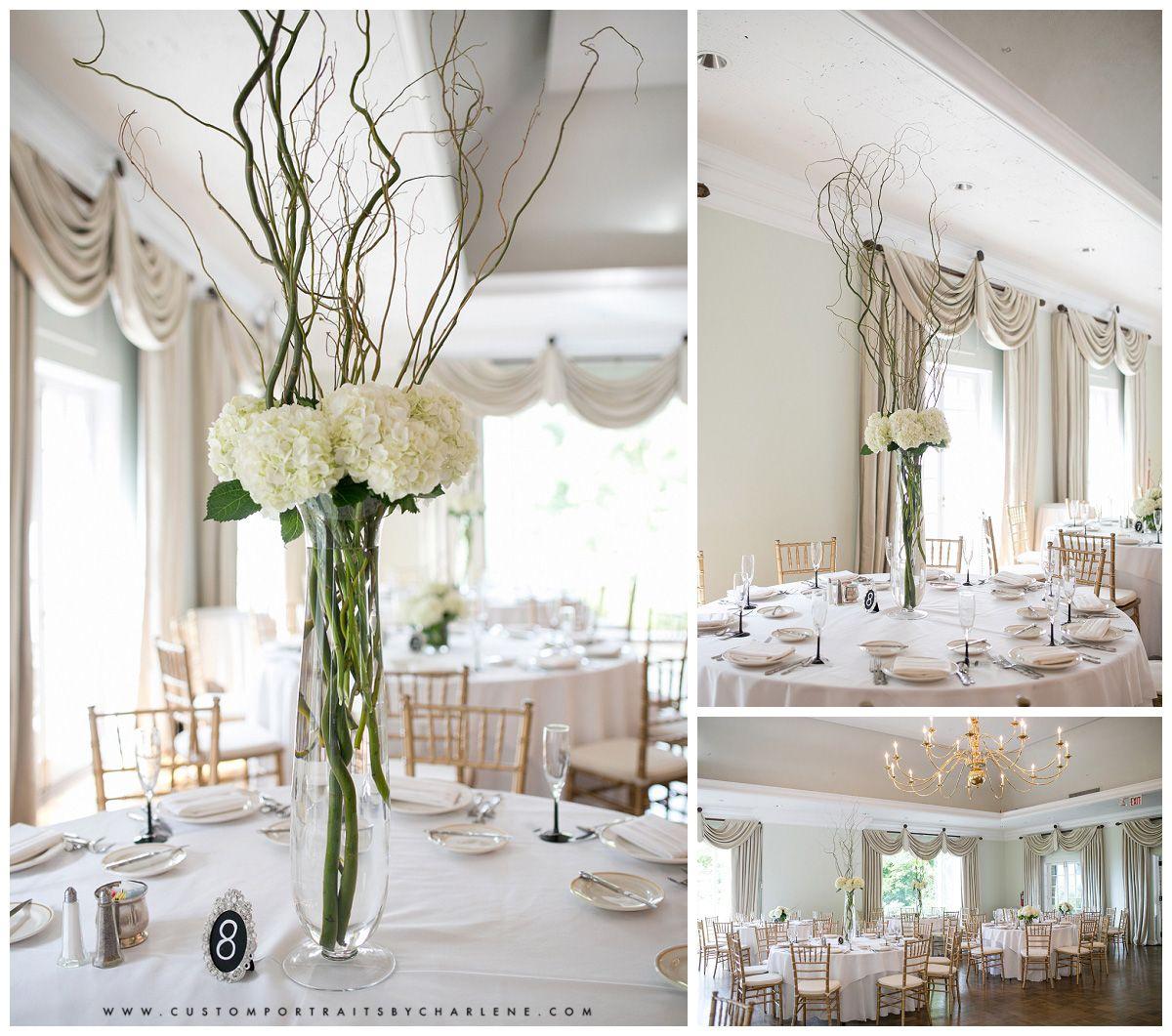 tall centerpieces - white on white wedding - simple elegance wedding ...