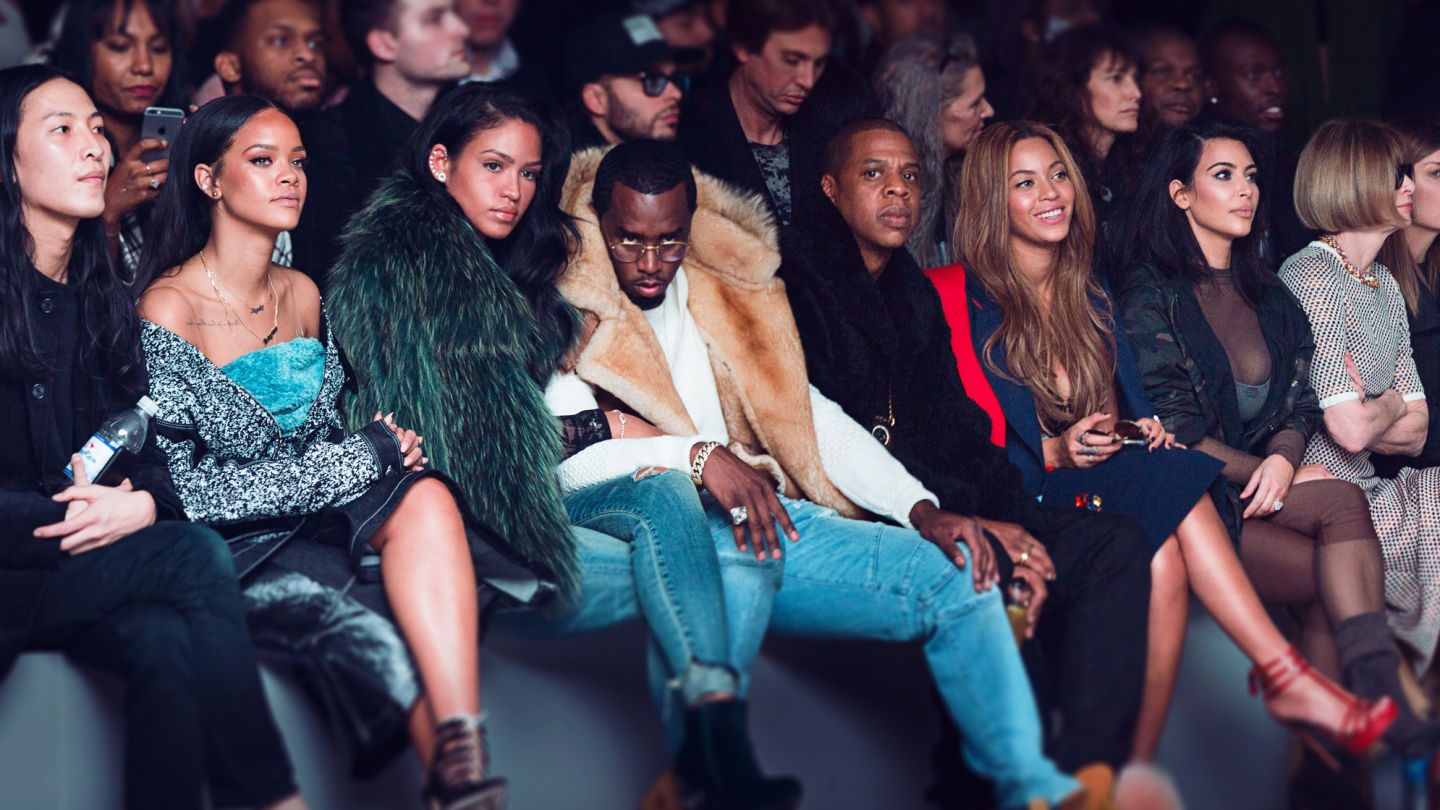 Rihanna Beyonce Kim Kardashian And A Million Other People Sit Front Row At Kanye West S Adidas Nyfw Show Kanye West Adidas Kim Kardashian And North Kanye West Style