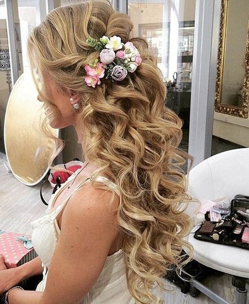 Curly Hairstyles For Long Hair For Wedding: Half Updo Long Curly Hairstyles For Prom