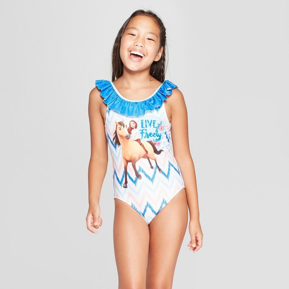 8205f07982 Girls  Spirit Riding Free One Piece Swimsuit - Blue M in 2019 ...